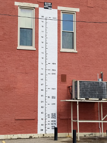 Riverside St. Rose Church scale shows how high the water got on the church during each major flood.