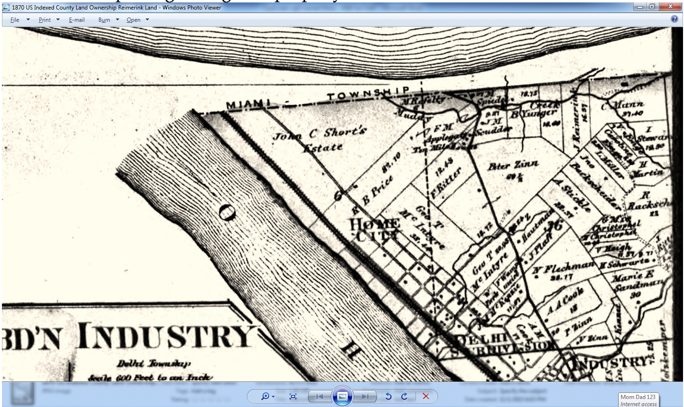 """1870 Record showing property now belonging to Johanne Reimerink, lists the Muddy Creek where Francicus Kueper drowned. Under the words """"Miami Township"""" follow it down to the word """"Muddy"""" and look right 4 properties to the right is J. Reimerink with the creek passing through the property."""