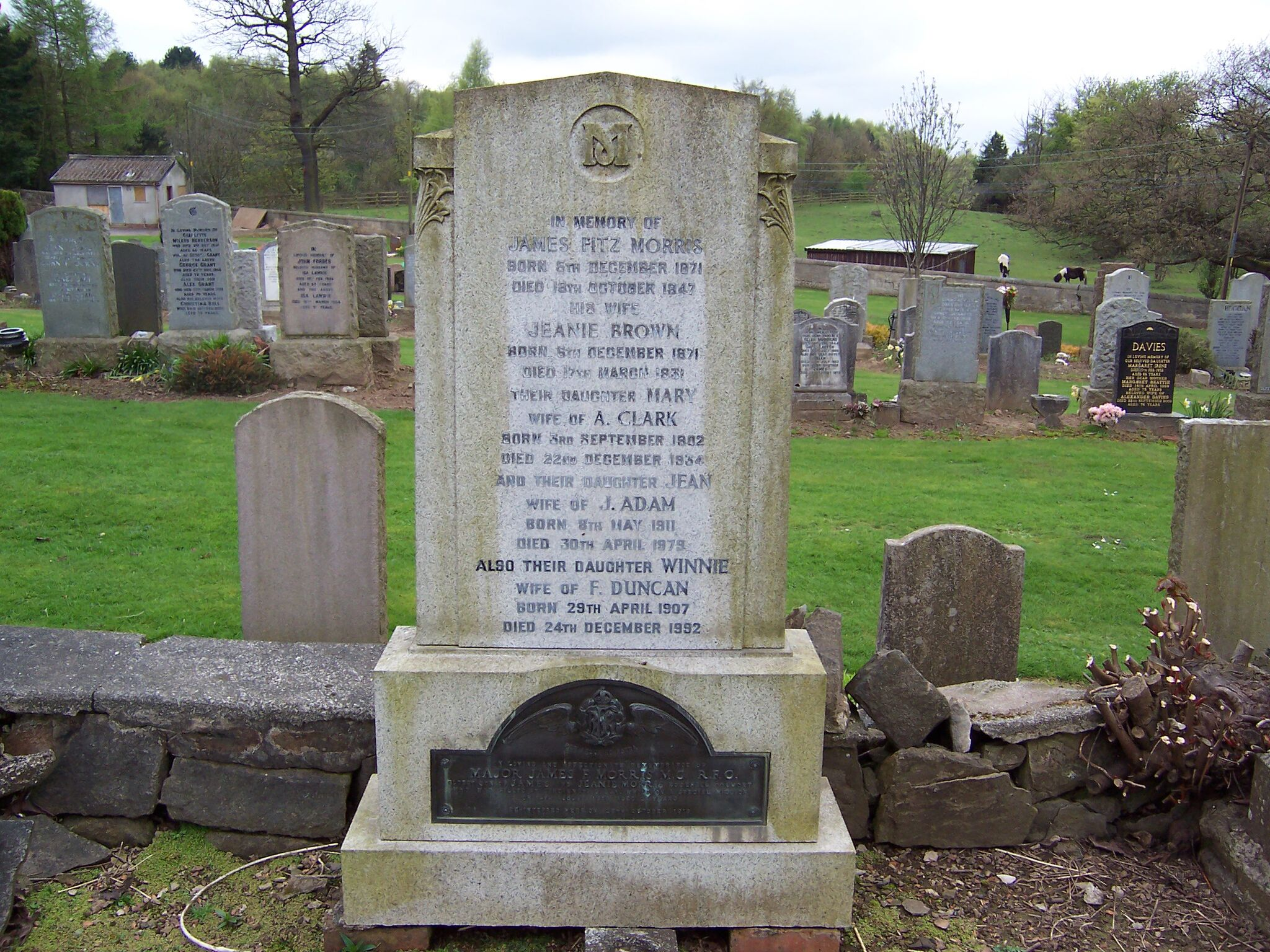 Capt. James Fitzmorris' family tombstone in Polmont, Scotland