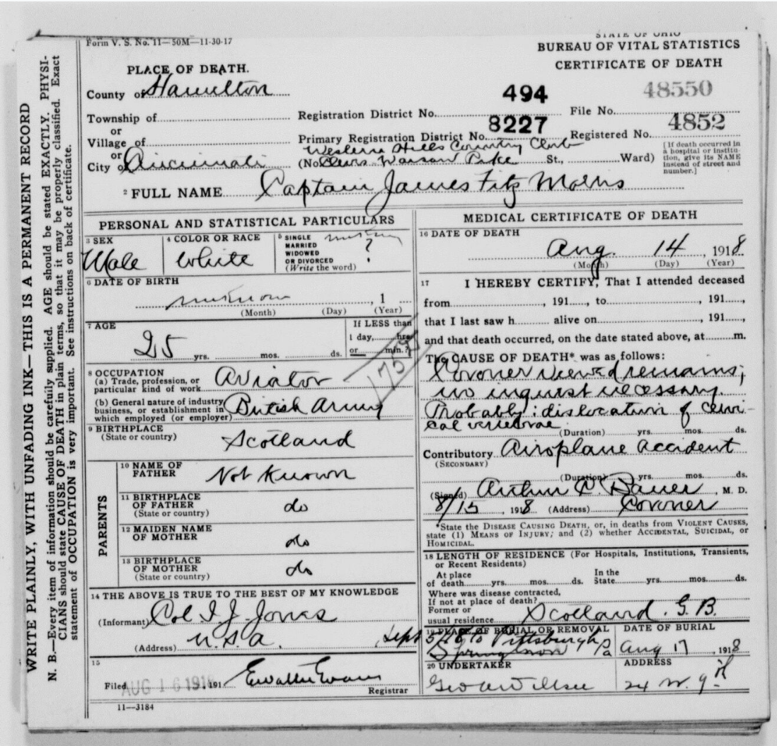 Capt. James Fitmorris' death certificate.