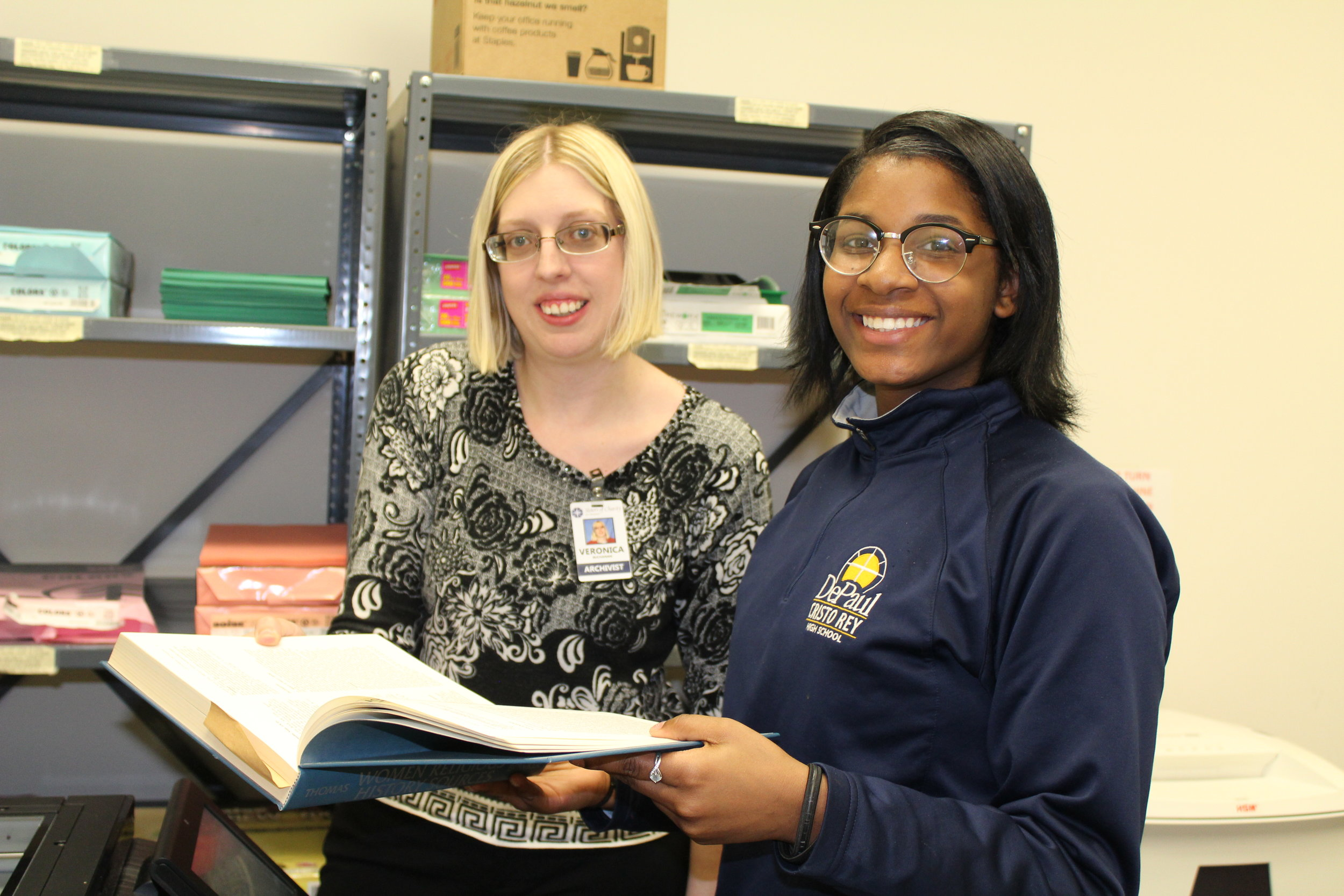 SC Archivist Veronica Buchanan and DePaul Freshman student Bre'Ale Jackson.