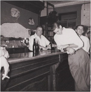 Grandpa Joe Klawitter manning the bar, other's unknown: