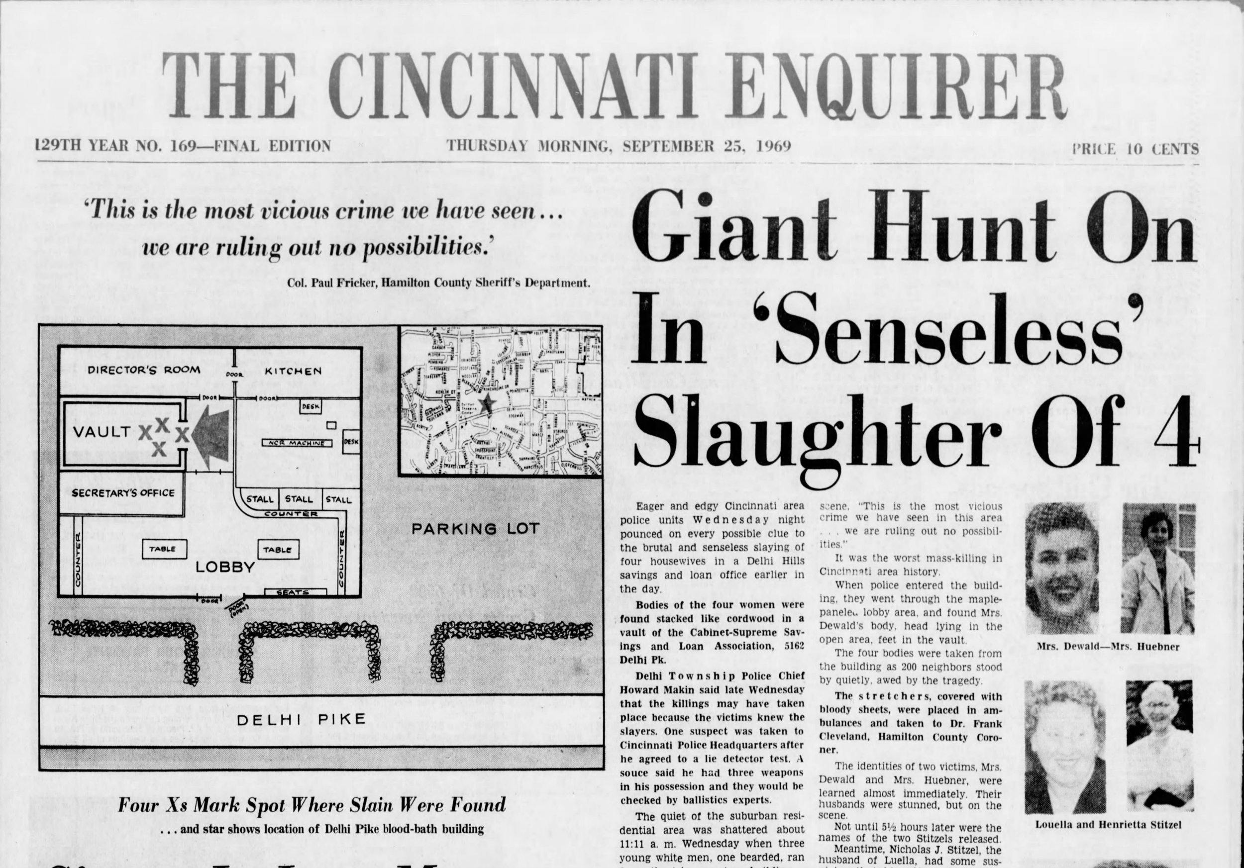 Front page of the Cincinnati Enquirer Sept. 25, 1969.