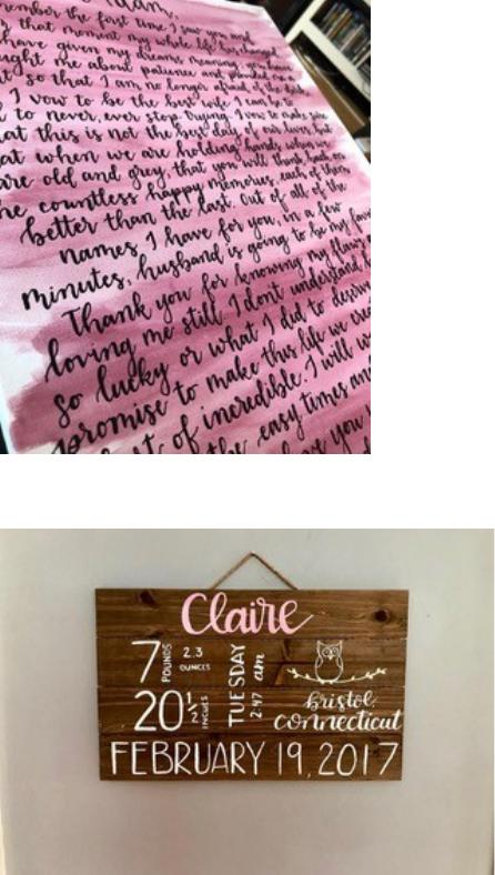 Canvas Piece ($40-$80)    ~Pricing depends on amount of words + canvas size  ~ Choice of background color  ** Pre-order  NECESSARY **     Baby Stats Sign ($50)    ~ Choice of paint color for writing  **Pre-order  NECESSARY **