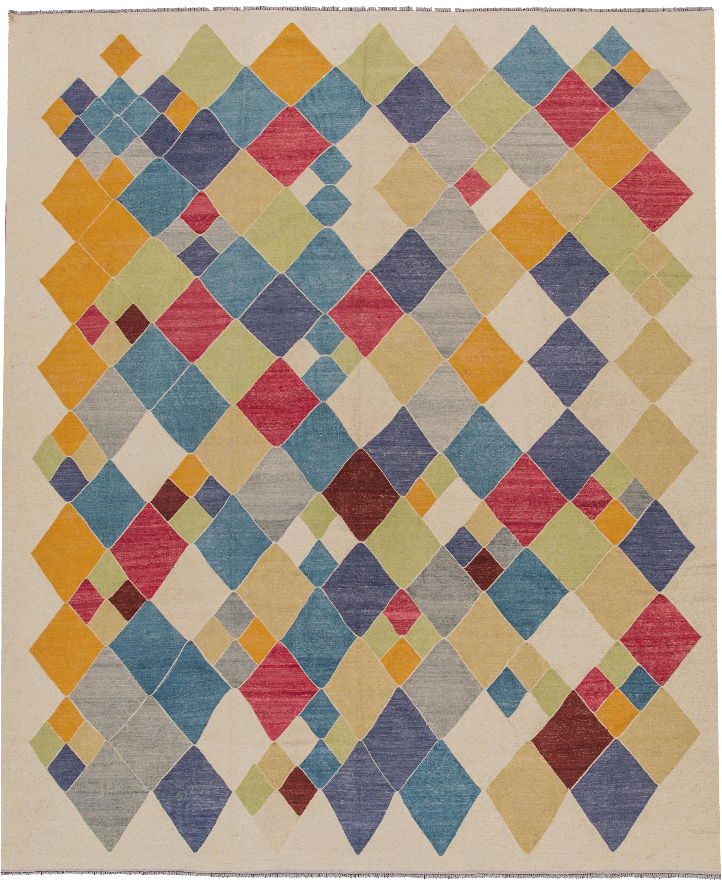 "Clowning Around - Kilim Weave, Multi Checkered100% WoolDimensions: 11'' 01'' x 13' 06""Price: $5,983.00"