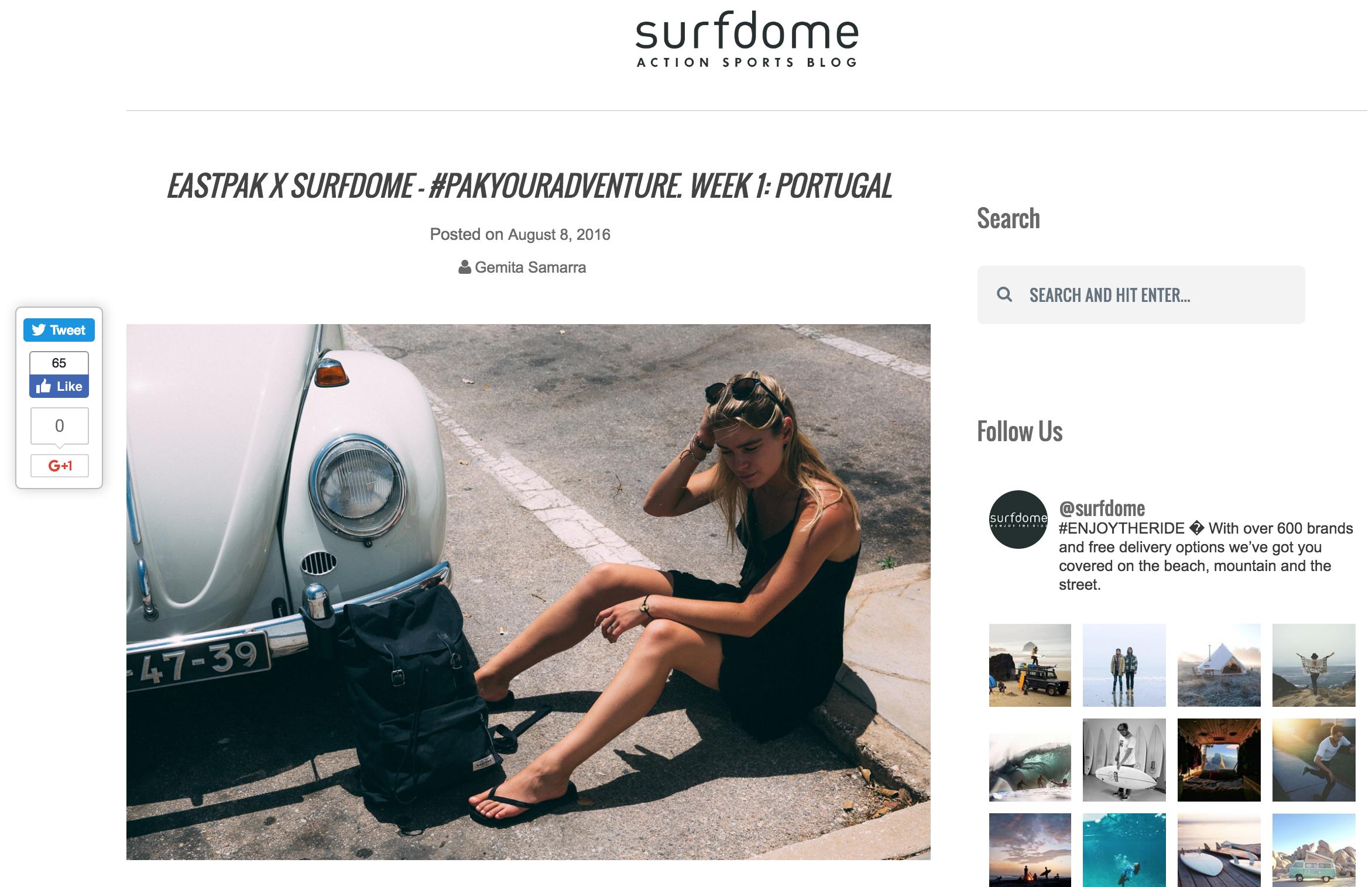 SURFDOME X EASTPAK Portugal    https://www.surfdome.com/lifestyle_blog/eastpak-x-surfdome-portugal/