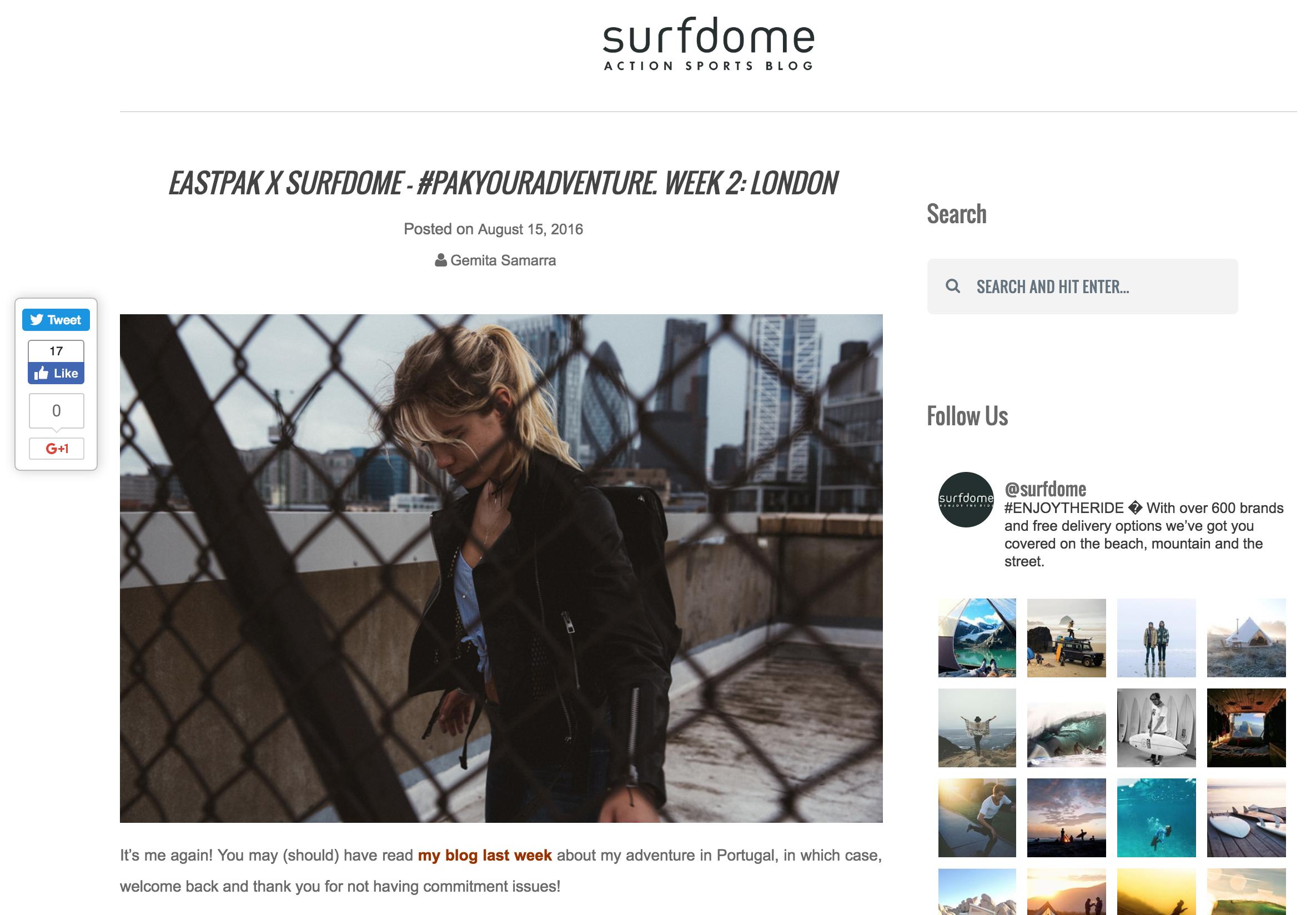 SURFDOME X EASTPAK London    https://www.surfdome.com/lifestyle_blog/eastpak-x-surfdome-london/
