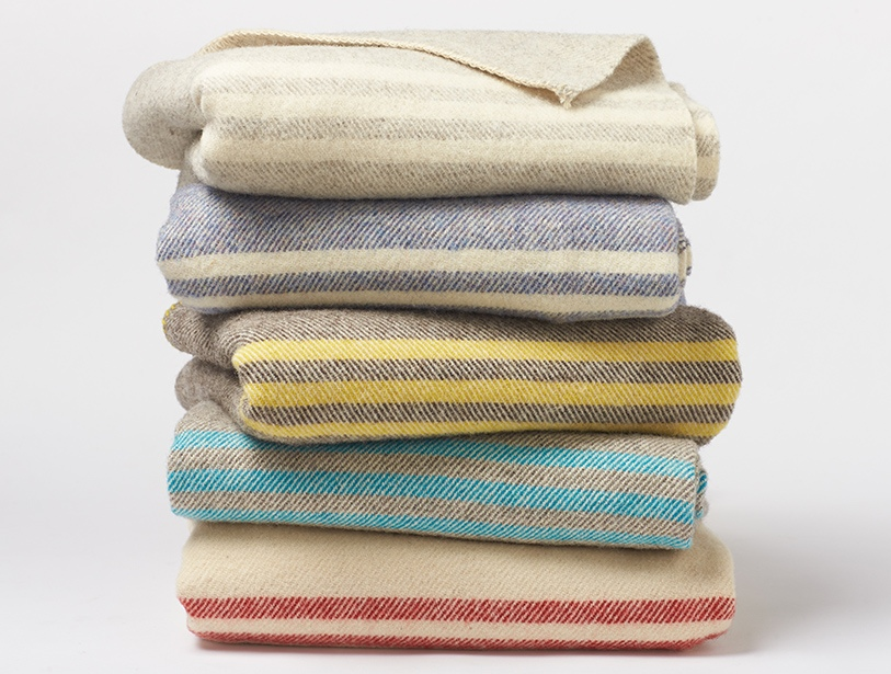 Natural wool blanket, made in a small mill in Canada