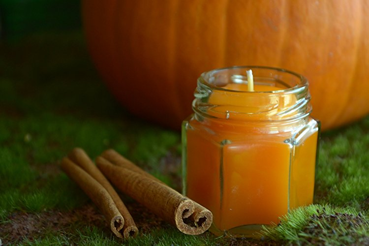 Cute!! Handmade by Crafty Dogwood, this miniature Pumpkin Spice candle is made with 100% beeswax in Wyoming. It can also be purchased in  a larger size .