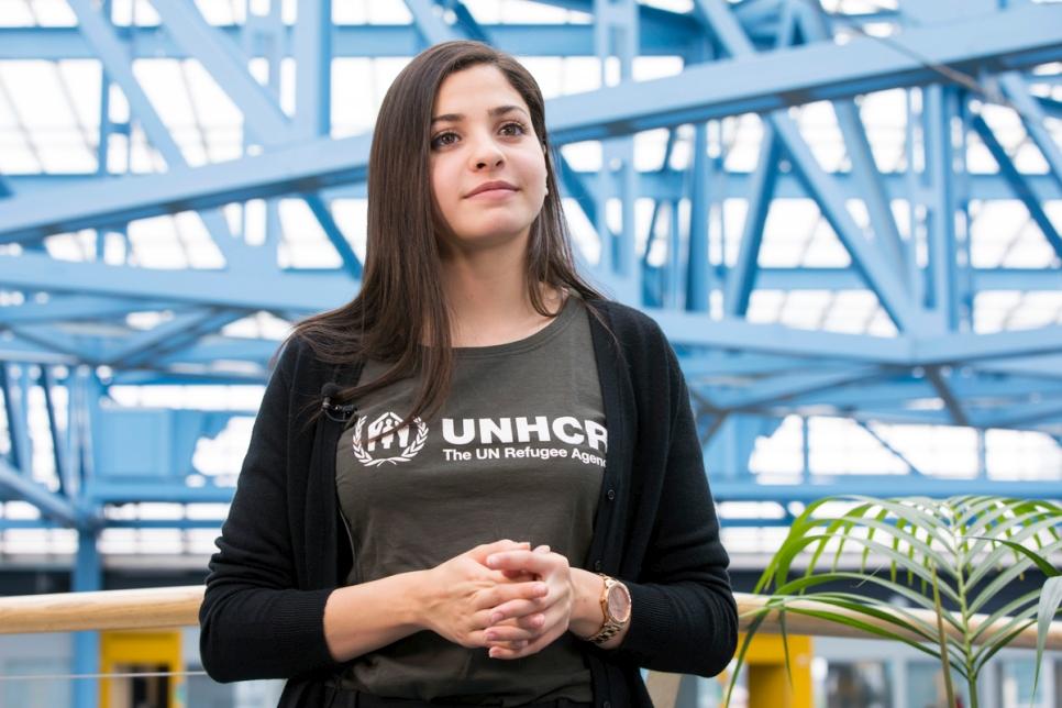 Mardini after being announced as a UNHCR Goodwill Ambassador (Susan Hopper/UNHCR)