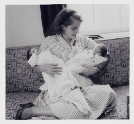 Albright with her twin daughters (1960)