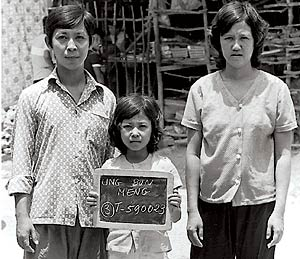 Loung Ung with her brother Meng Ung and sister-in-law Eang Tan in a refugee camp in Thailand