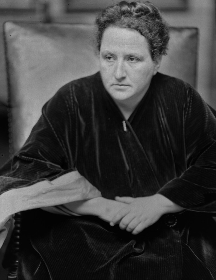 """Stein was twentieth century American writer and influence in the Paris art world. She often wrote in an experimental style and is responsible for the quote """"a rose is a rose is a rose."""" Stein was in a lifelong lesbian relationship with her partner, Alice Toklas."""