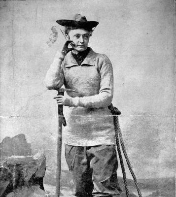 """She was a pants-wearing, mountain-climbing rebel. Peck placed a """"Votes for Women"""" flag at the peak of Mount Coropuna, which she climbed at age 61. She was on the first expedition to climb the north peak of Huascarán in 1908."""