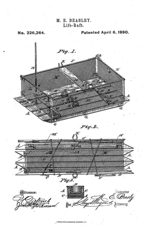 Beasley was a prolific inventor, best known for her innovative improvements to life rafts. which was patented in 1882 and used on the Titanic. Her design for life rafts was collapsible, fireproof, and had guardrails, and saved 706 lives in the sinking of the Titantic.