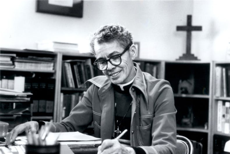 Pauli Murray was a Black lesbian lawyer who's work formed the basis of an end to segregation and the extension of the Equal Protection Clause to women. In 1940, she was arrested when she sat toward the front of a segregated bus. She was one of very few women in her class at Howard and became the first African-American woman to become an Episcopal priest.