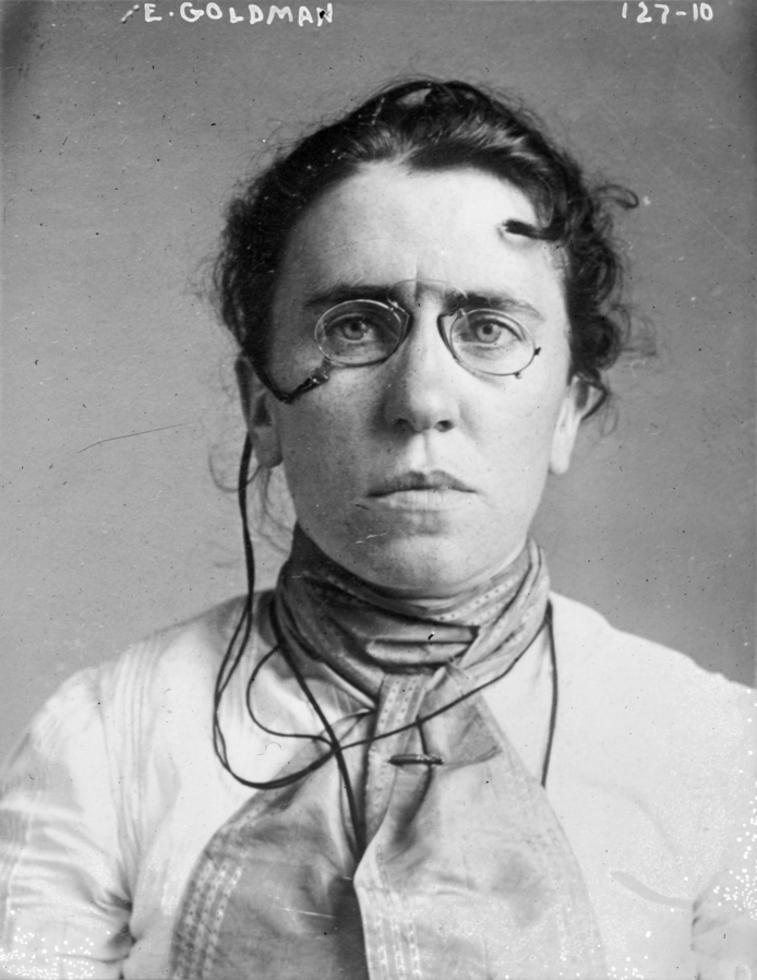 Emma Goldman is perhaps history's best known anarchist. Particularly after the 1886 Haymarket Riot, Goldman advocated for and lectured on anarchist causes across the USA, as well as publishing an anarchist paper: Mother Earth. Goldman was arrested many times for her activism and was ultimately deported to Russia in 1919. Although initially excited by the socialist revolution, she became disillusioned with the anti-Semitism and suppression in the country. She spent the remainder of her life travelling North America and Europe, supporting human rights and anarchist causes.