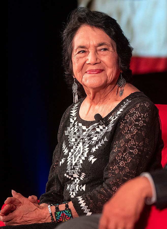 Dolores Huerta is a lifelong labor and civil rights activist. She is probably best known, along with Cesar Chavez, as a cofounder of United Farm Workers and organizer of the Delano grape strike. Huerta remains politically active--she was arrested during a union protest for better wages at age 89 in 2019.