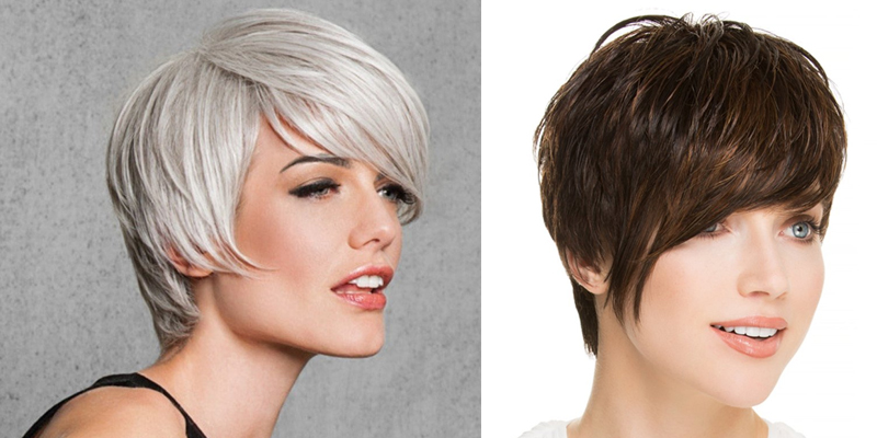 Left:  Angled Cut Wig by Hairdo . Right:  Point Monofilament Wig by Ellen Wille .