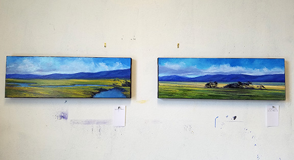 Here are two paintings in a recent series of 10x30s, which had a LOT of paint on them, so much that I was starting to muddy the waters ('specially on the left one. hehe.) and needed to leave them to dry before proceeding. But I was in the zone and didn't want to forget where I was going with them. So....