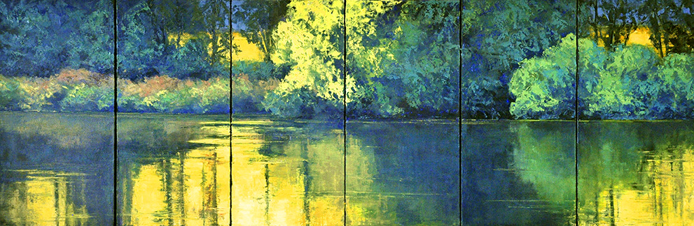 "It let to this 20x60"" 6-panel painting. I was interested in doing a very  green  refections scene."