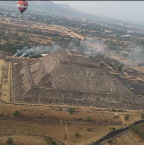 balloon over mexican pyramid
