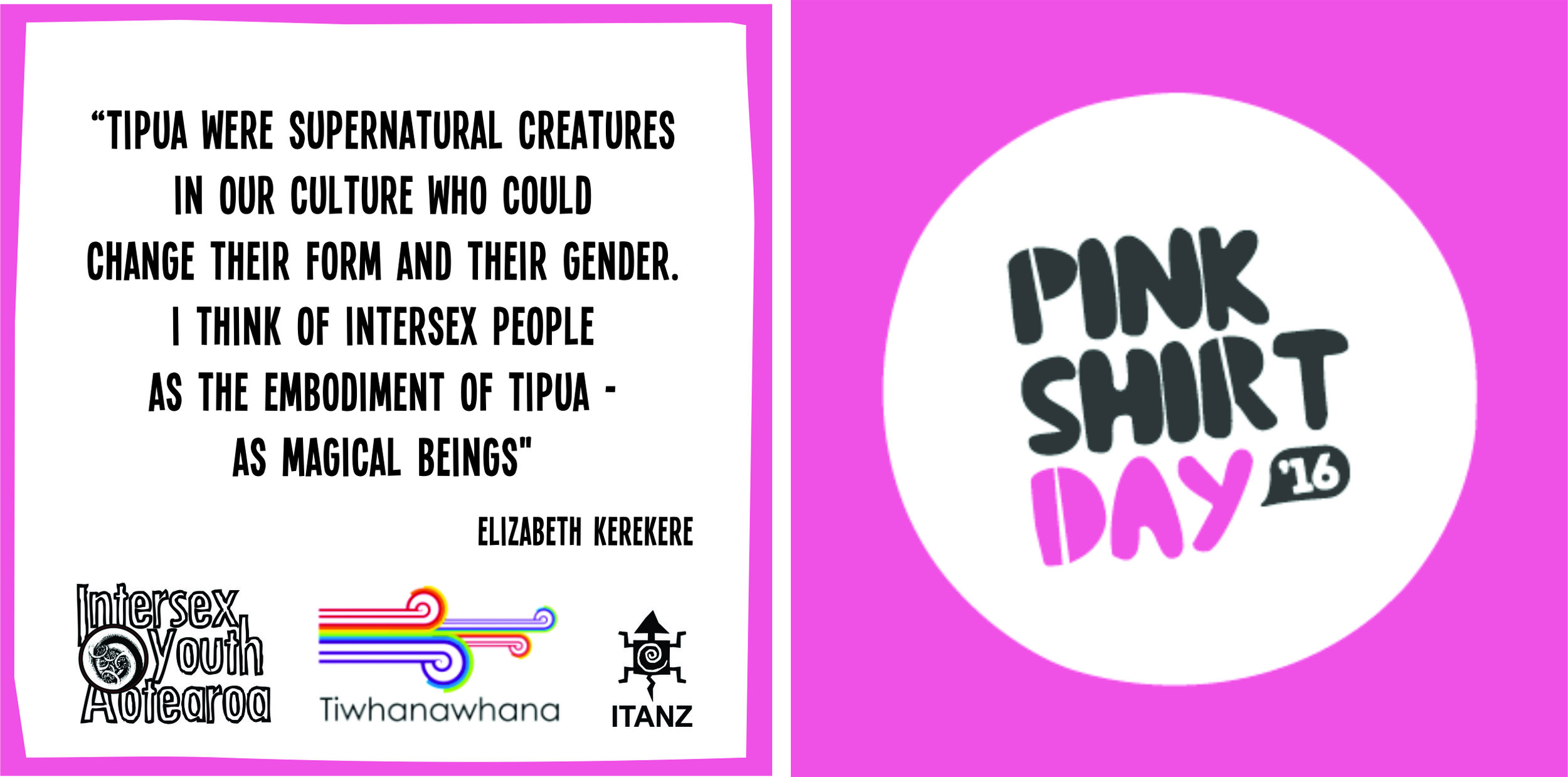 """A white box with a pink border on the left shows black text saying """"Tipua were spiritual creatures in our culture who could change their form and their gender. I think of intersex people as the embodiment of Tipua - as magical beings."""" Elizabeth Kerekere. Below the text are three logos in a line, Intersex Youth Aotearoa, Tiwhanawhana and ITANZ. On the right there is a pink box with a white circle. Inside the circle there are the words Pink Shirt Day with '16 in a small black speech bubble"""