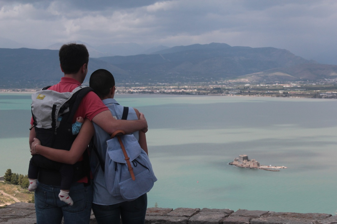 After climbing 913 steps to the Palamidi Castle in Nafplio, Greece.