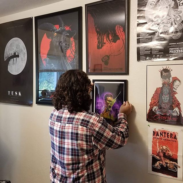 Well, we finally decided it was about time to make it look like we actually love #horror in our #recordingstudio. Added three pieces to the wall just yesterday and I can't stop looking at them! Picked up the VVitch piece and the Dog Soldiers over at @herocomplexgallery (artists are @vance_kelly and @yvanquinet) and @devondraws for the killer Re-animator piece!  #horrorfans #thevvitch #blackphillip #dogsoldiers #reanimator #herbertwest #horrorart #fengshui