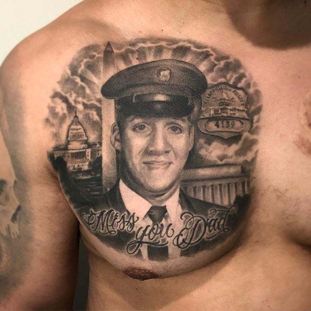 Healed Memorial Portrait from a few months back on the homie Chris. Always an honor to do family member portraits🙏🙌🙌 #tattoo #tattoos #blackandgrey #blackandgreyportrait #blackandgreytattoo #portraittattoo #chesttattoo #dmvtattooartist #marylandtattooartist #baltimoretattooartist #guyswithink #girlswithink #guyswithtattoos #girlswithtattoos #inklife #inked #dctattooartist #chriscartertattoos #bodyart #skinart