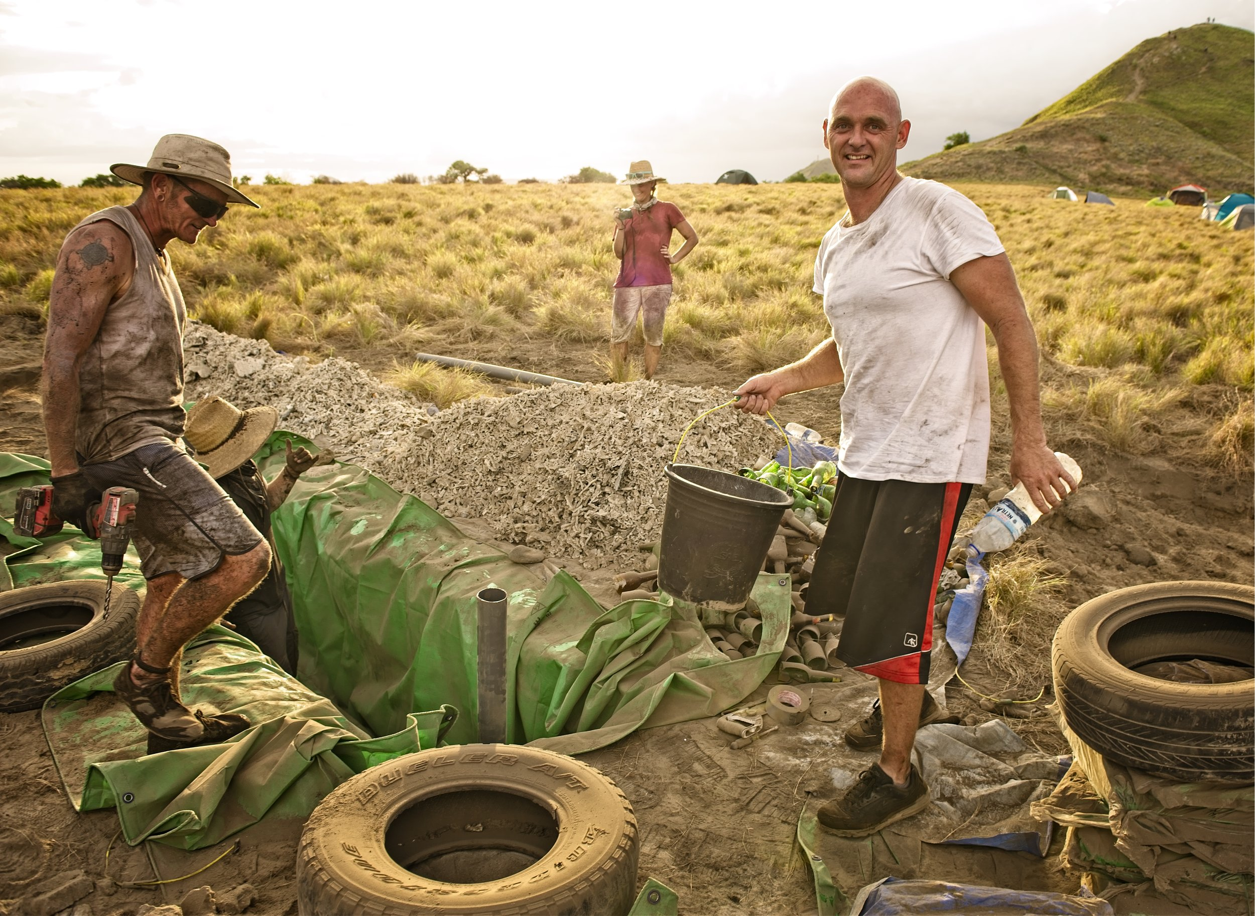 - Earthship designs first collect the rain water for drinking and living purposes, then recycle it to feed the plants in and around the build. Here one of the planters