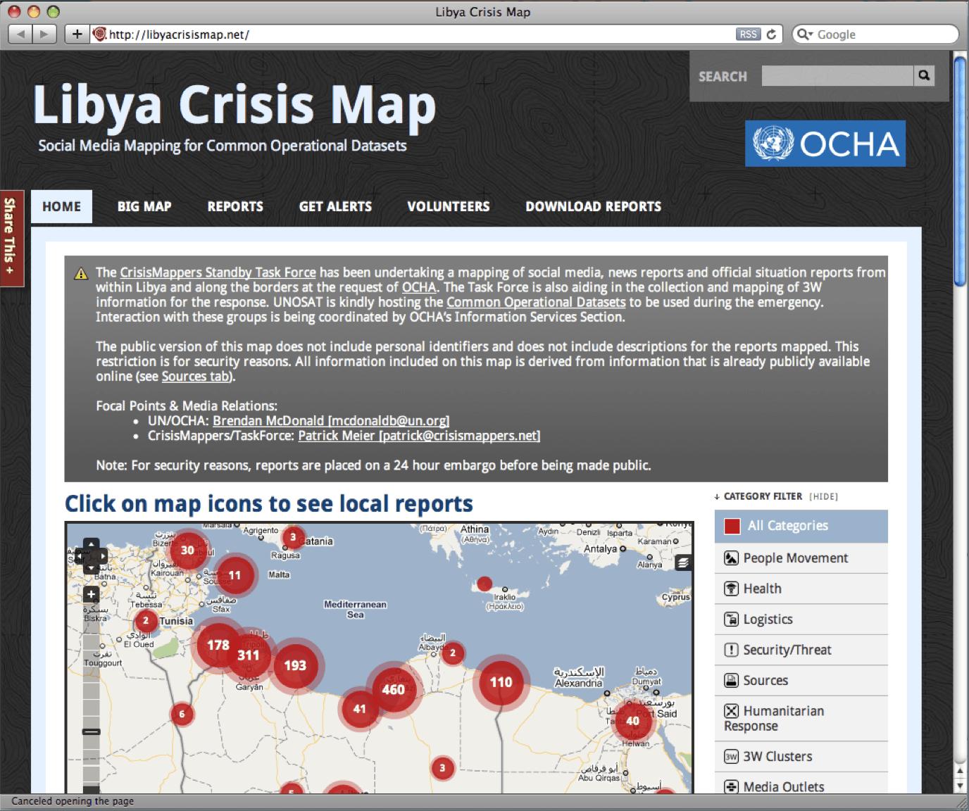 Libya Crisis Map, 2011