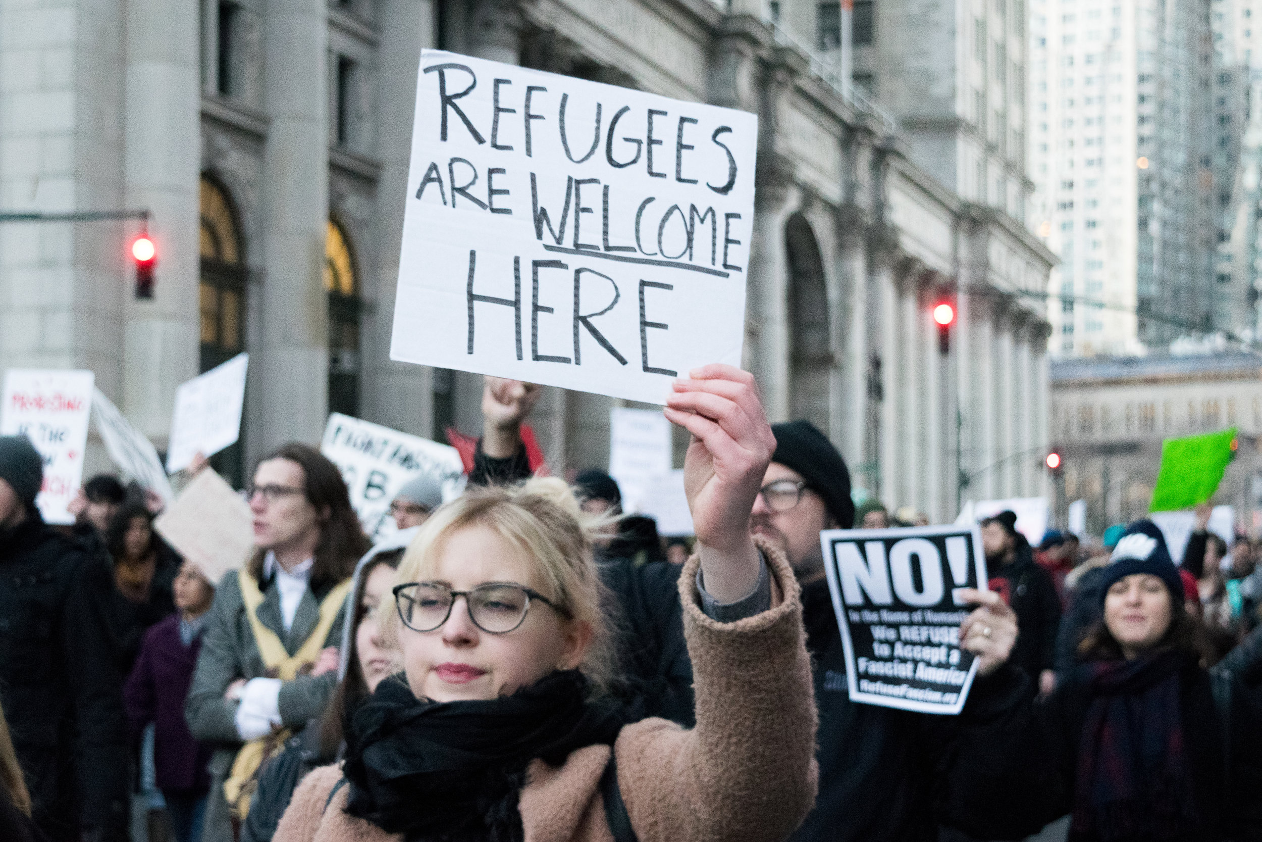 """Refugees Are Welcome Here"""