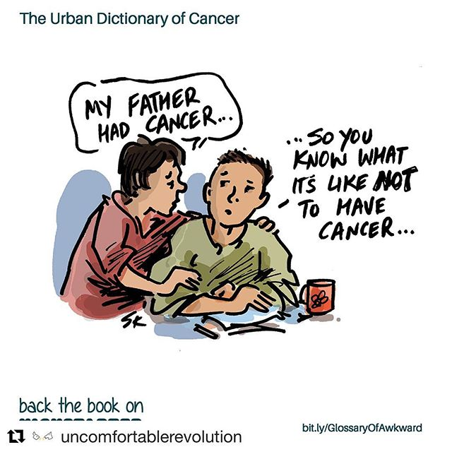 "My book is 50% funded! 12 days to raise US$11,000 in sales!  Pledge now to get your limited edition signed copy of the ""Glossary of Awkward: Urban Dictionary of Cancer,"" a quirky collection of cartoons about cancer. . . . #effcancer #breastcancerawareness #stupidcancer #cancergiftideas #leukemiasucks #originalcartoon #cancerbook #cancer #cancergift #cancergifts #cartoons #crowdfunding #health #book #cancerawareness #youngadultcancer #yacancer #glossaryofawkward #kickstarter #newbook #fuckcancer #simonkneebone #buddingauthor ... Repost @uncomfortablerevolution with @get_repost ・・・"