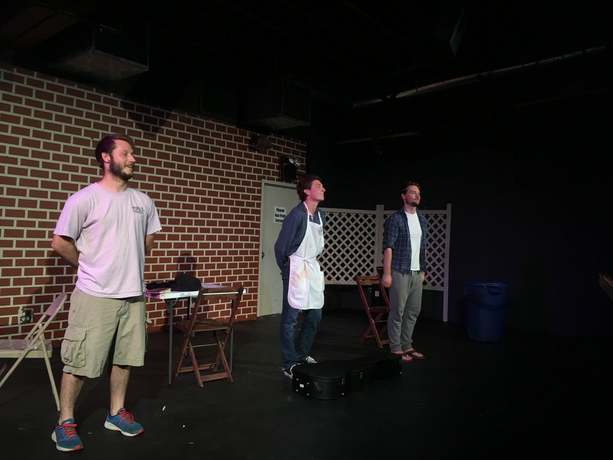 L2R Miles Potter as KJ, Griffin Johnston as Evan, and Peter Giessl as Jasper