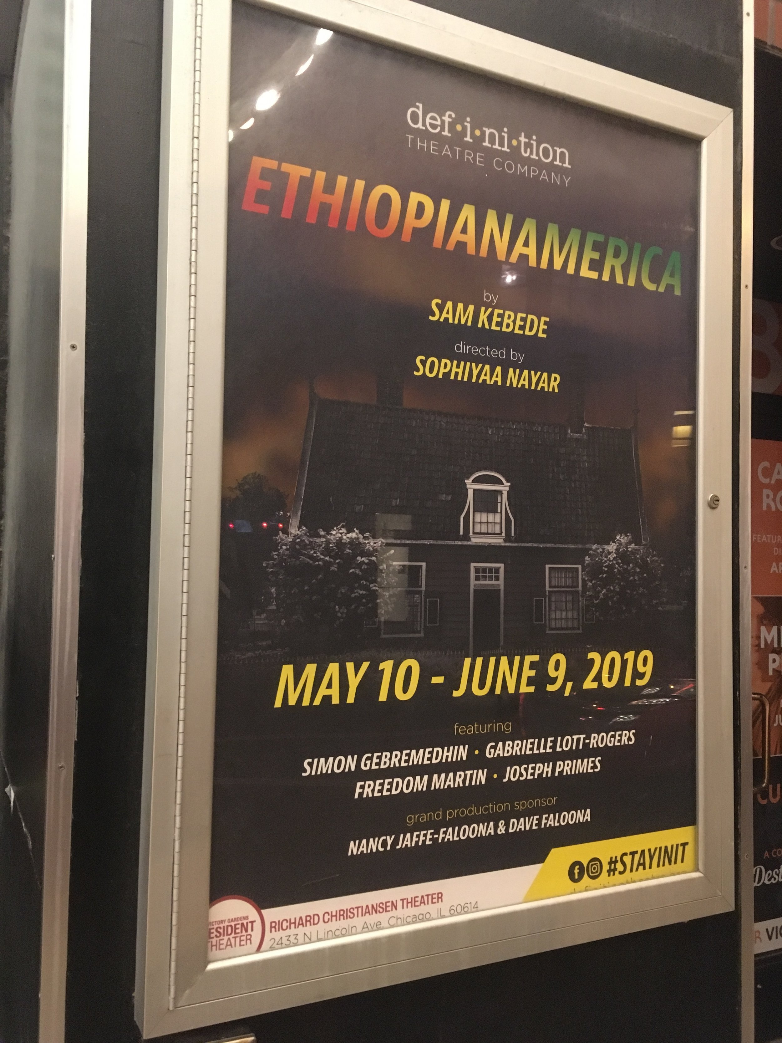 EthiopianAmerica poster at the Victory Gardens Theater