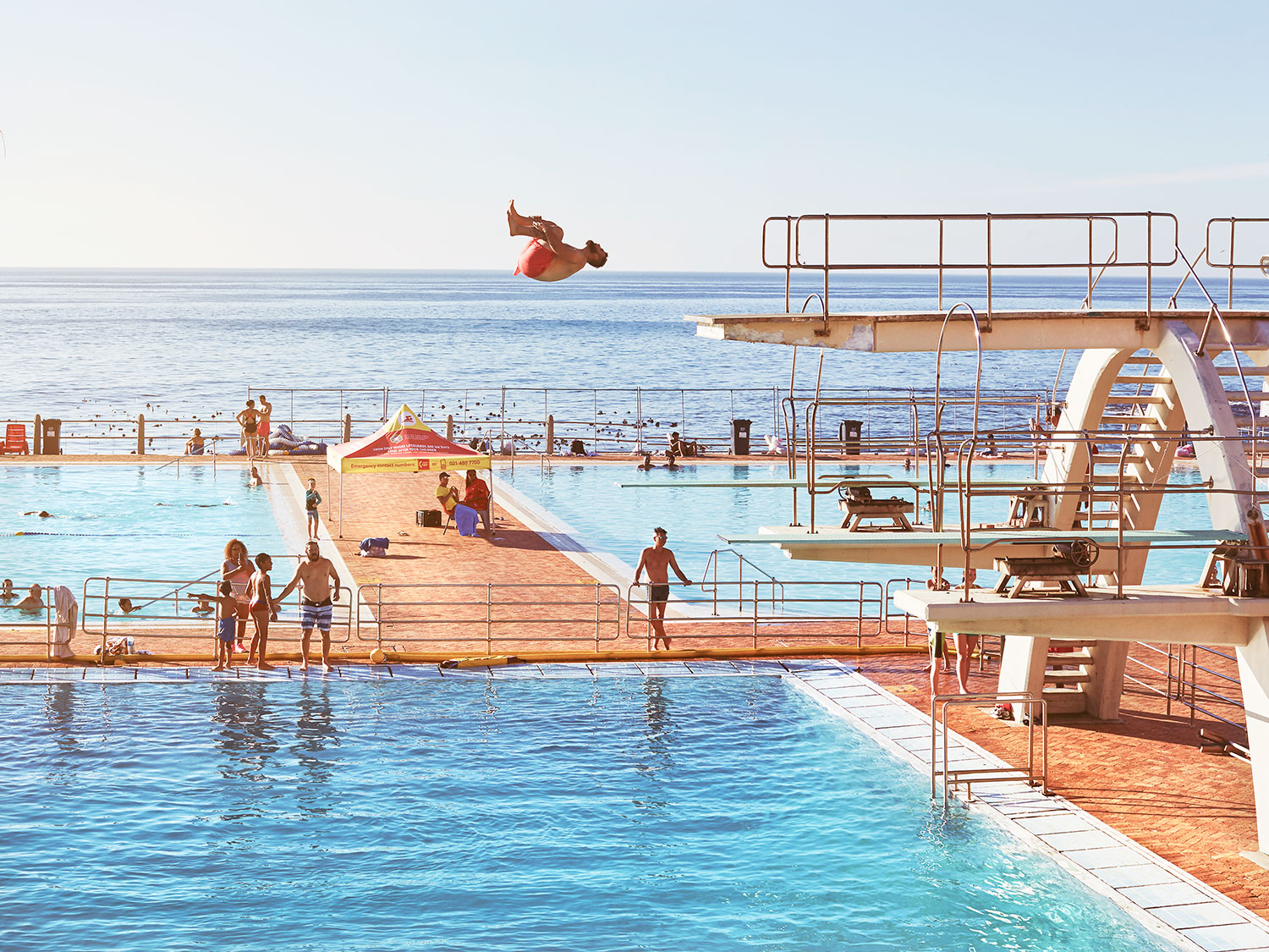 The public pool  at Sea Point has managed to stay up and running in spite of the water crisis. Sea Point, Cape Town.