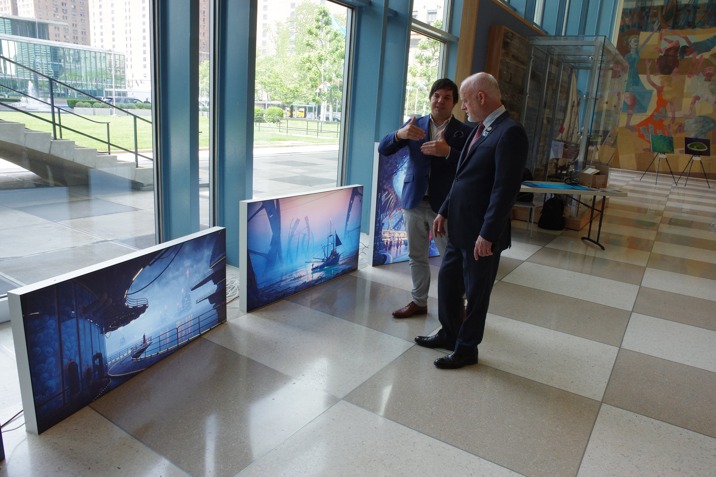 Here, Andrew presents the Radical Ocean Futures project to the President of the 71st Session of the United Nations General Assembly, Mr Peter Thomson during the UN Oceans #saveourocean  SDG 14  meeting in June 2017