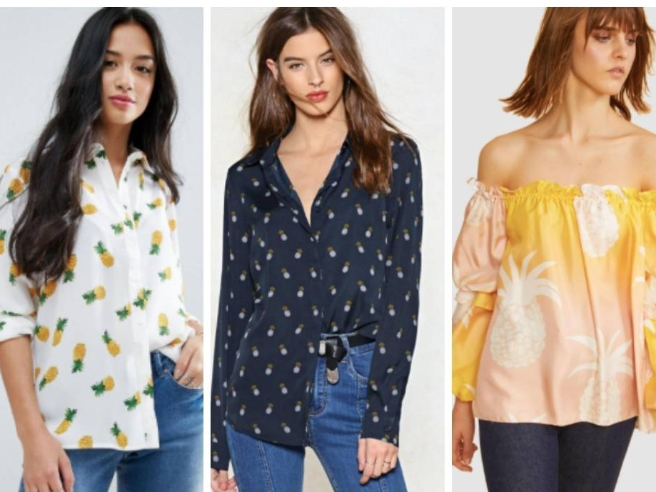Examples of best-selling pineapple print tops from ASOS, Nasty Gal and The Iconic