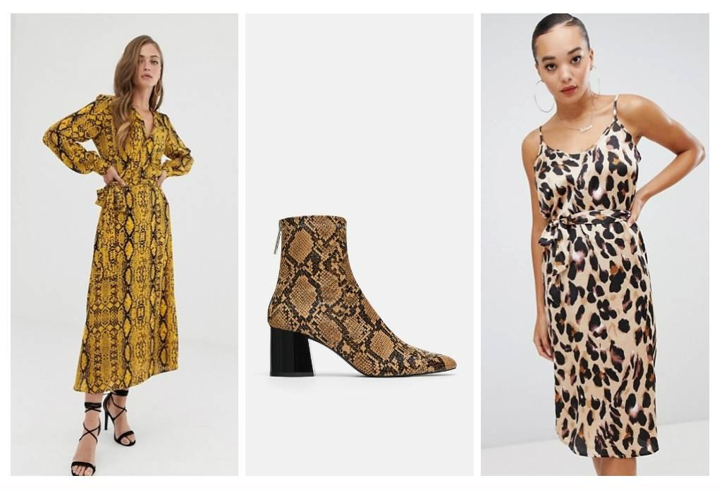 Animal Print High Heel Ankle Boot (Zara SG), Boohoo Satin Slip Midi Dress in Leopard (Boohoo UK), ASOS DESIGN Wrap Front Midi Dress in Snake Print (ASOS UK)