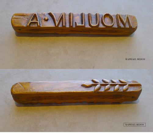 """5.Règle à beurre """"A.MOULIN"""", revers épis de blé en relief (L 20,5 cm)"""