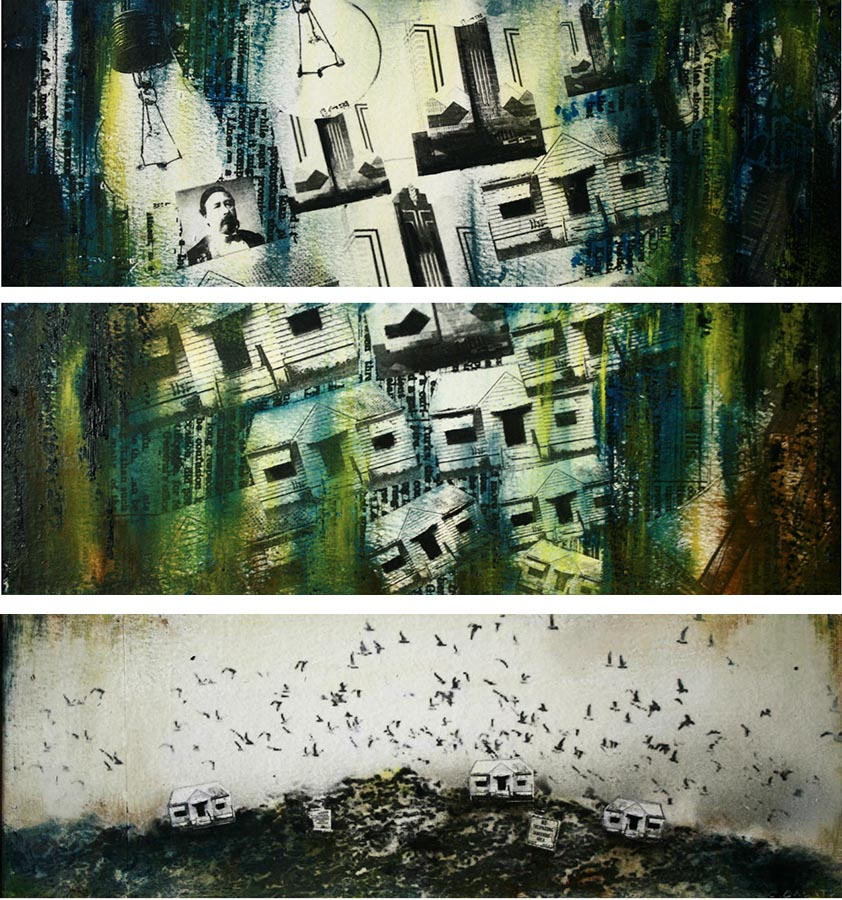 "Storyboard 12, Panels 1-6 of 6 panels, oil and photo transfer on paper, 4"" x 12"" each, 2012"