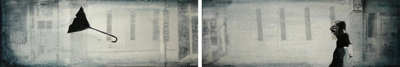 "Storyboard 4, 2 panels, Oil and photo transfer on paper, 4"" x 12"" each, 2012"