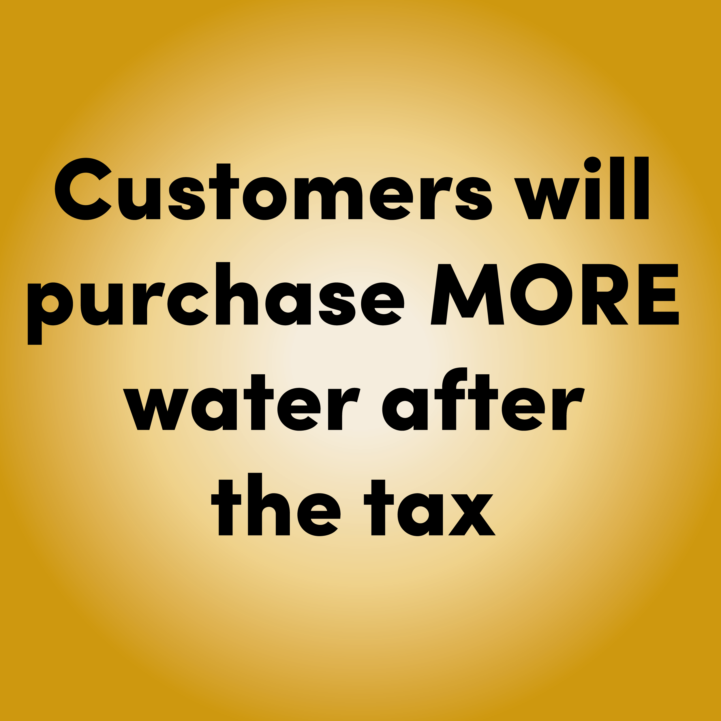 TRUE     Studies have shown that purchases of  water and other untaxed drinks rise as much as 15%  following a sugary drink tax.