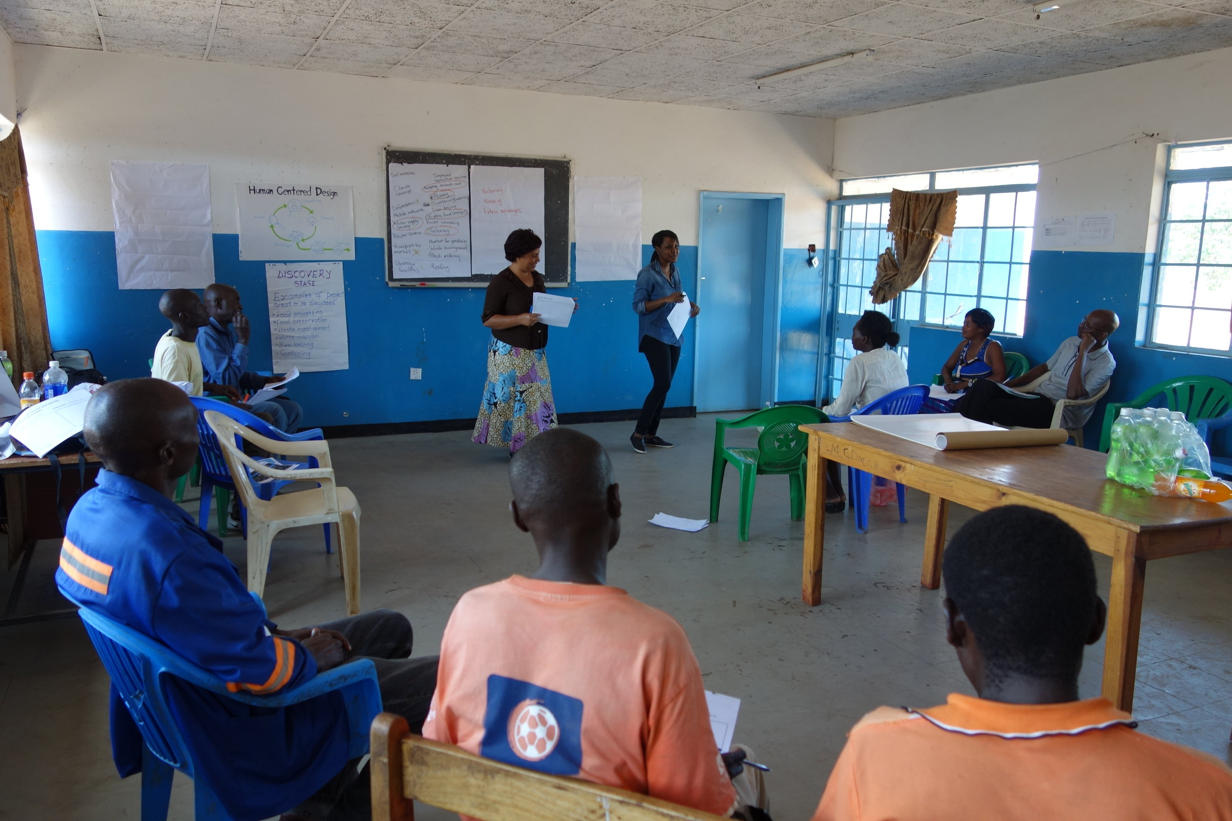 Running a user-centered design workshop with refugee and host communities in Zambia.