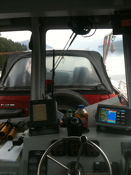 The view from the pilot house with the load on.