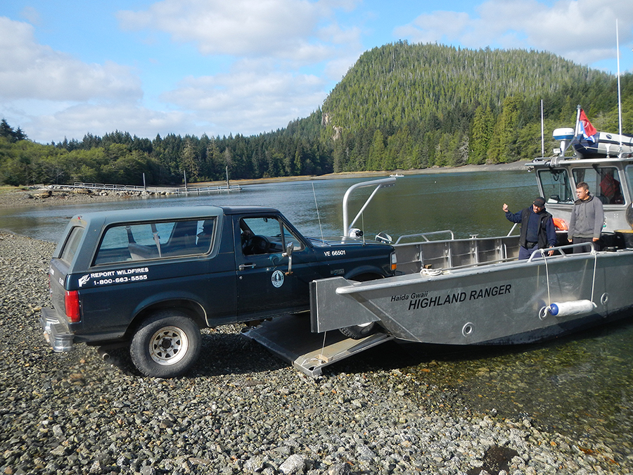 Delivering a forestry patrol vehicle to a water access only location