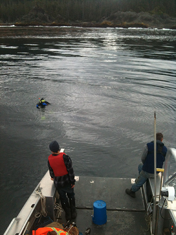 Maneuvering to pick up the diver after locating the site of the wreck.