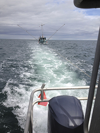 Towing a disabled commercial fishboat to safety in Hecate Straight.