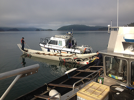 Working with the RCMP's marine division in support of a local cultural event. Here we are lining up to tow 2 Haida canoes to a pole raising in Gwaii Haanas national park reserve/Haida heritage site.